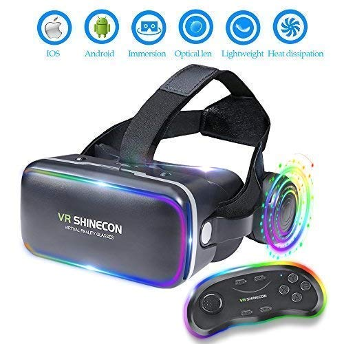 3D VR Headset Virtual Reality Glasses -for 3D Movies Video Games Comfortable VR Goggles with Stereo Adjustable Headphone Compatible with All iOS/Android Smartphones Within ()