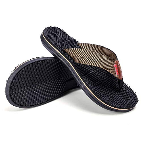 4150632b614 Men Beach Shoes HOSOME Men s Casual Flat Flip Flops Slippers Outdoor  Massage Shoes Black