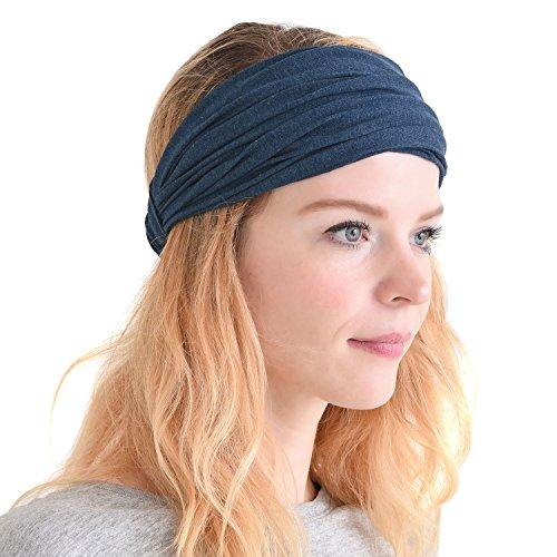 Stretch Headband (CHARM Casualbox | Mens Womens Headband Bandana Stretch Hair Band Japanese Style Mix Navy)