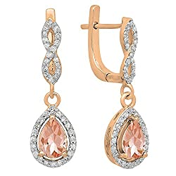 Morganite & Round White Diamond Teardrop Earrings