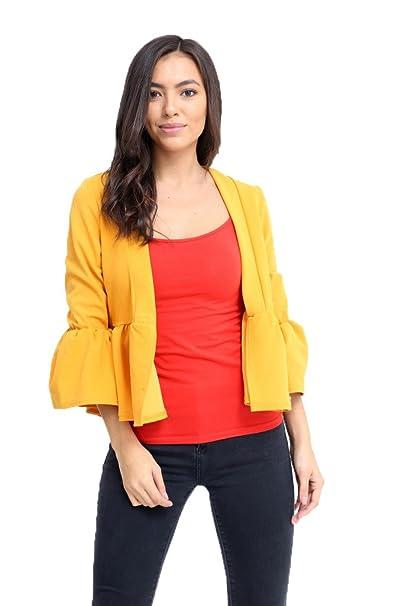 Islander Fashions - Chaqueta de traje - para mujer amarillo Mostaza 36