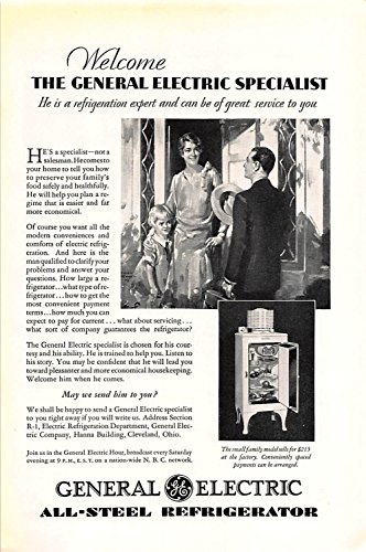 Print Ad 1930 General Electric All -Steel Refrigerator 1930 General Electric Refrigerator