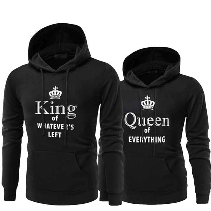 Pareja Impresión Corona King & Queen Sudaderas con Capucha Manga Larga Jersey Camisa de Entrenamiento Hombre Mujer Pullover: Amazon.es: Ropa y accesorios