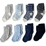 Hudson Baby Basic Socks, 8 Pack, Boy Stripe, 0-6 Months
