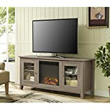 New 58 Inch Wide Fireplace Tv Stand with Glass Doors-Driftwood Finish