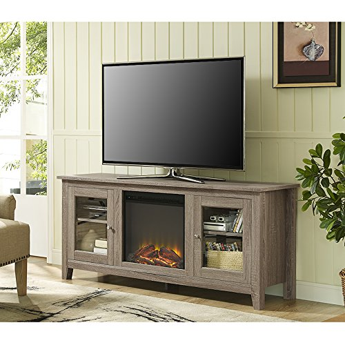 New 58 Inch Wide Fireplace Tv Stand with Glass Doors-Driftwood Finish (Electric Fireplace Tv Stands compare prices)