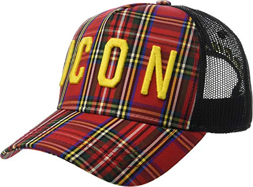 DSQUARED2 Men's Icon Plaid Baseball Cap Red/Yellow/Black One Size (Icon Hat)