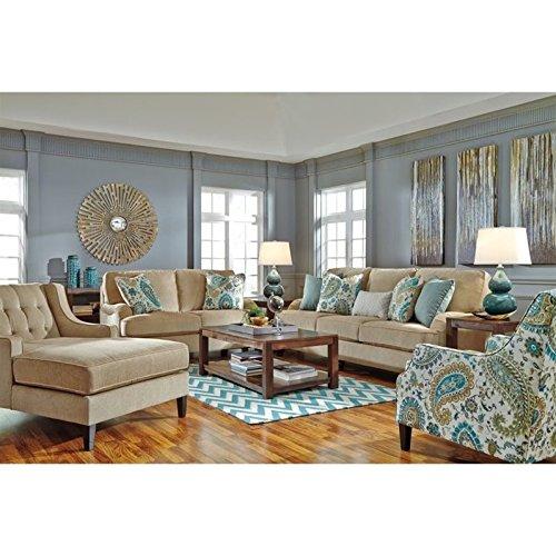 Bisque Living Room Set - Ashley Lochian 4 Piece Chenille Sofa Set in Bisque