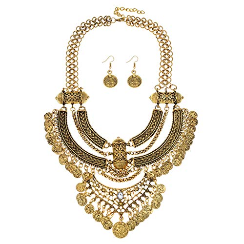 Lanue Fashion Bib Bohemian Statement Coin Necklace and Earrings Punk Ethnic style Jewelry Set for Women (Style 2-gold) ()