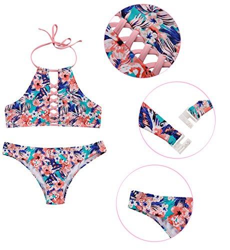 Up bagno Push Costumi Bikini Fiori Set pezzi Costume Stampati SHEKINI Halter Swimsuit Collo Vintage Due Brasiliano da Sexy alto Donna Beachwear imbottito Fiori Stampati Regolabile dqYqwnX76x