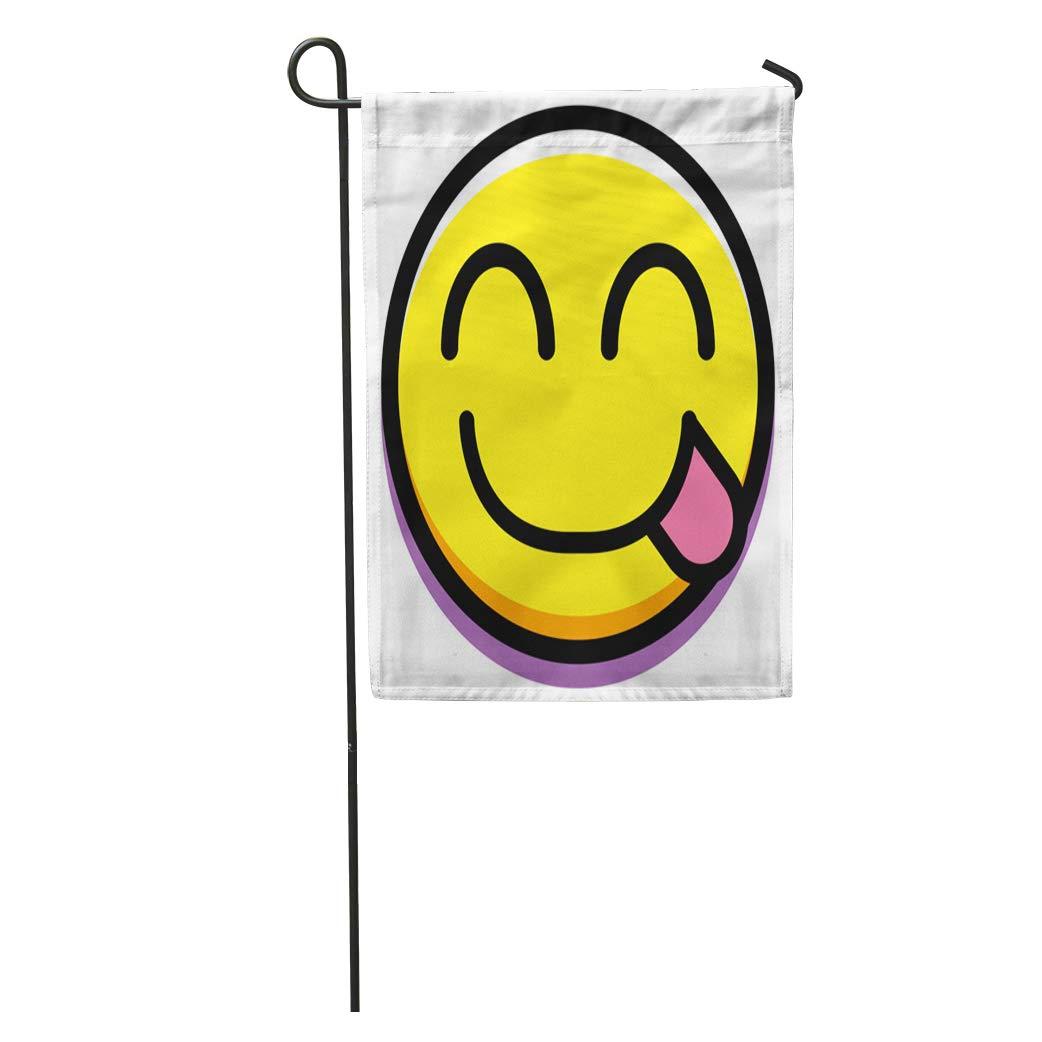 Amazoncom Semtomn Garden Flag Yellow Emoji Yummy Face Hungry