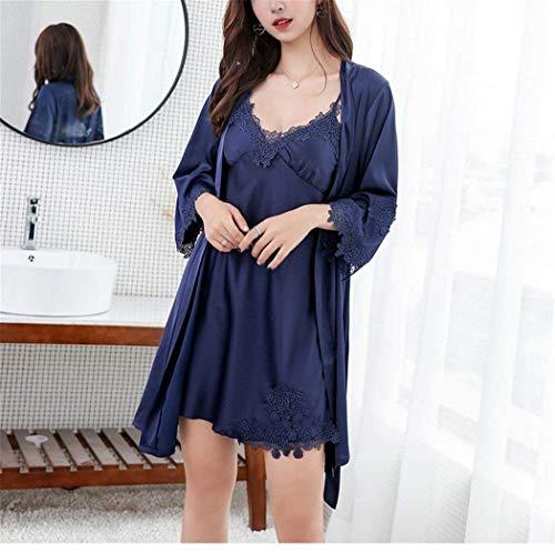 Ropa En Dos Mujer V Seda Larga De Manga Camisón Piezas Pijamas Suelto Azul Basic Vestido Conjunto Cuello Para Con 1YxTyqfw
