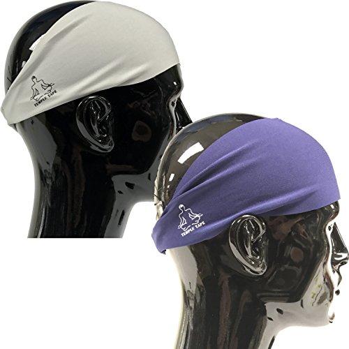 Value 2-Pack, Mens Headband - Guys Sweatband & Sports Headbands Moisture Wicking Workout Sweatbands for Running, Cross Training, Skiing and Bike Helmet Friendly - Value Pack 1-Navy & 1-Gray Sweatband