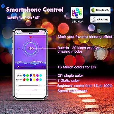 KORJO Dream Color LED Strip Lights, 32.8ft/10M Bluetooth LED Chasing Light with APP, Waterproof 12V 300 LEDs 5050 RGB Color Changing Rope Light Kit, Flexible Led Strip Lighting for Home Kitchen
