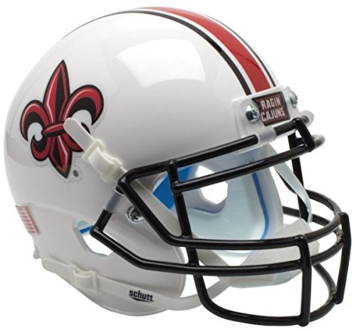Helmet Cajuns Mini Replica Ragin - Schutt NCAA Louisiana Lafayette Rajin' Cajuns Mini Authentic XP Football Helmet, White Fleur Alt. 2, Mini