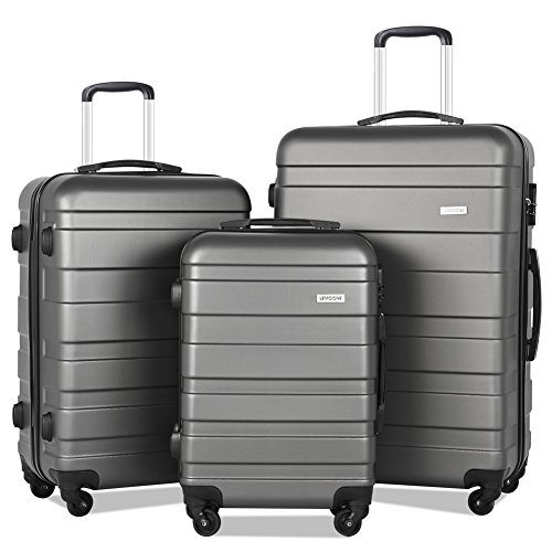 LuggageSet 3PieceSuitcaseSetLightweight HardShell SpinnerLuggage (Dark grey)