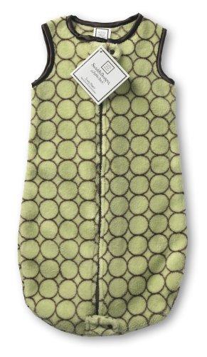 SwaddleDesigns Sleeping Sack with 2-Way Zipper, Cozy Micro Fleece Brown Mod Circles on Lime, 3-6MO