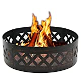 HomGarden 37'' Heavy Duty Campfire Fire Pit Ring Wilderness Patio Outdoors Metal Wood Burning Firepit Camping Fire Rings