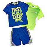Fila Toddler Boys' 3 Piece Athletic Set, Prince Blue/Electric Lime, 4T