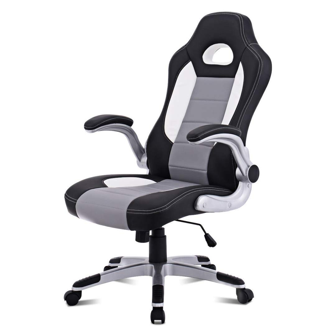 Modern Executive High Back Racing Style Gaming Chairs 360-degree Swivel PU Leather Upholstery Thick Padded Seat Adjustable Armrest School Office Home Furniture - (1) Grey #2129 by KLS14