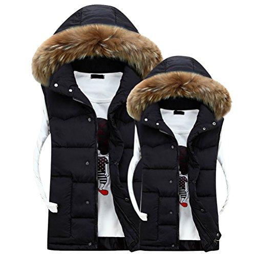 Zhuhaitf Hat Winter Hood Black Outerwear Capispalla Coats Men's Detachable Sleeveless Vest rwrYqZ