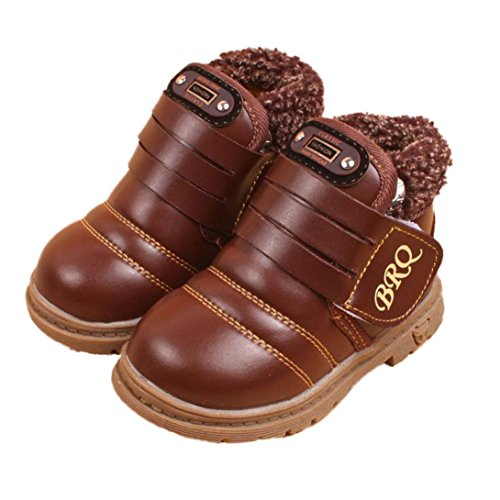 SUPPION Toddler Baby Girls Boys Thick Snow Boots PU Leather (13CM / US:4.5/ 21, Brown)
