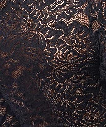 con chiusura in pizzo Body trasparente da donna a maniche lunghe Evoni