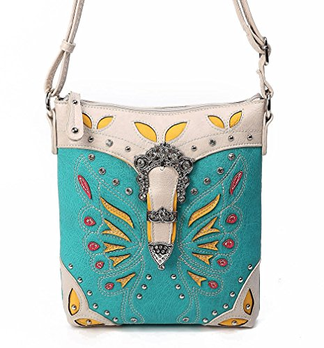 Cowgirl Trendy Butterfly Design South Western Cross Body Messenger Bag with Conceal Carry Pocket, Medium, Turquoise