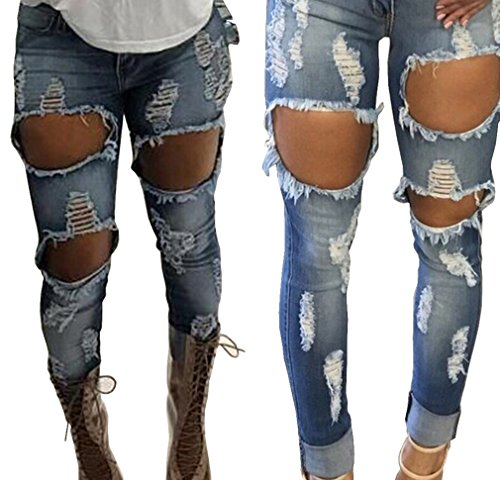 Women Hole Jeans High Waist Ripped Denim Skinny