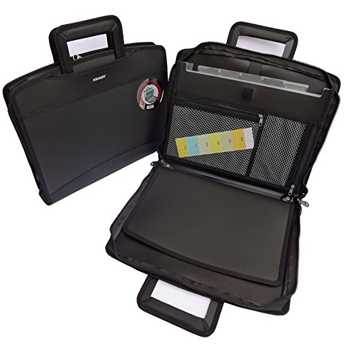 KINARY Expanding Professional Large Size Business Briefcase,6-Pockets Expanding Accordion File Folder, Retractable Handles,Component(Black)