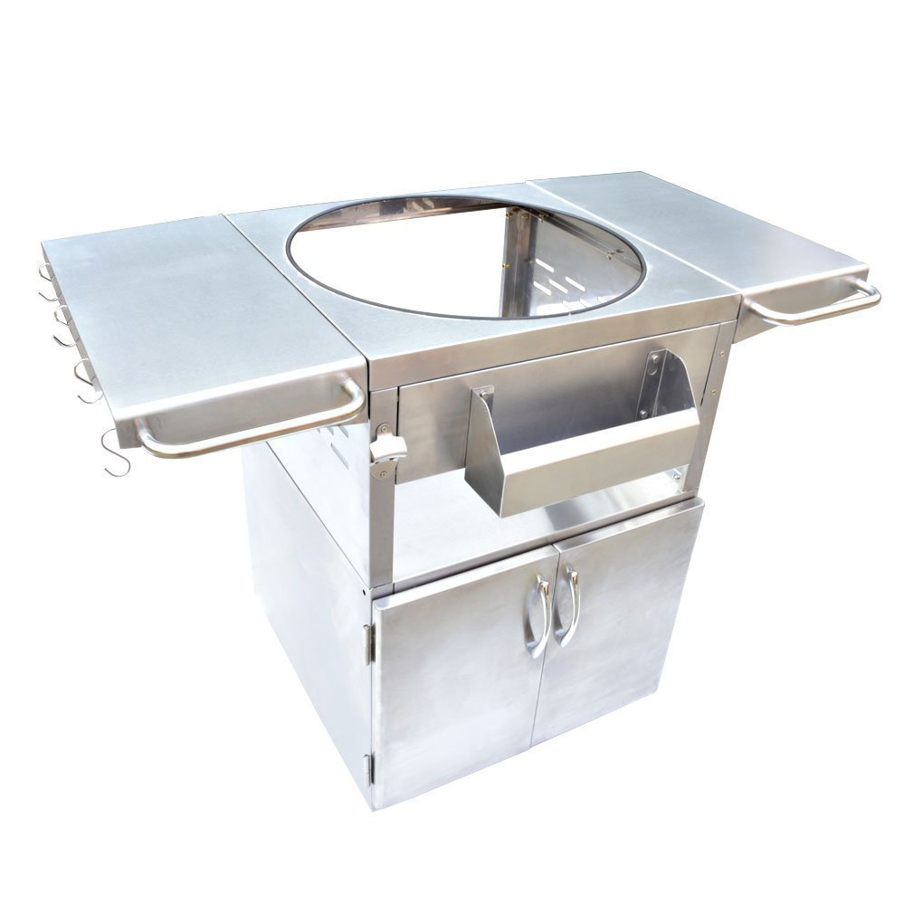 Onlyfire Stainless Steel Grill Cart Table Fit for Kamado Joe Clssic, Large Big Green Egg, Char Grillers, Vision Grills, Broil King, Pit Boss, Grill Dome Infinity and Other Ceramic Kamado Grill