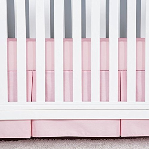 American Choice! Solid Color, 1Pcs Split Corner Nursery Crib Bed Skirts (28'' x 52'') with 2Pcs Toddler Pillow Case Natural Cotton for Baby Boys and Girls (Baby Pink Solid, 15 inch Drop Length)