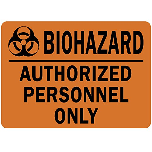 Biohazard Authorized Personnel Only OSHA Metal Aluminum Sign 7 in x 10 in Custom Warning & Saftey Sign Pre-drilled Holes for Easy mounting