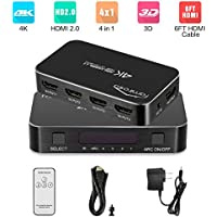 Famirosa HDMI Switch with Remote, 4 Port 4 in 1 Out Hdmi Switcher with Audio Out, Mini Hdmi 2.0 Selector Kvm Switch Box