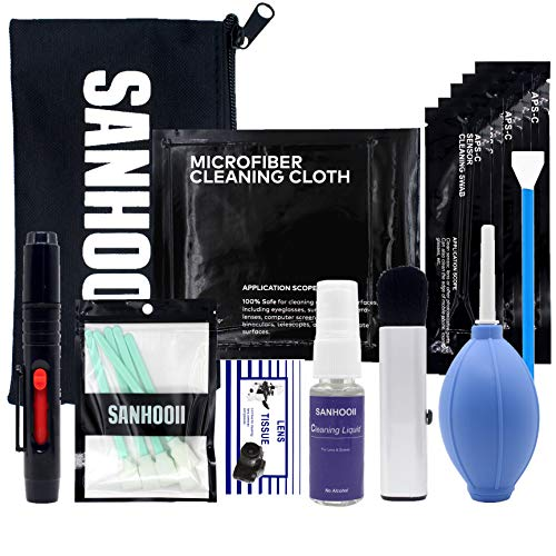 SANHOOII Camera Cleaning Kit for Sensitive Electronics and DSLR Cameras Sensor Cleaning and Lens Cleaning for Canon/Nikon/Pentax with Carry Bag from SANHOOII