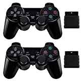 2 Pack Wireless Controller 2.4G Compatible with Sony Playstation 2 PS2 (Bright Black) (Bright Black)