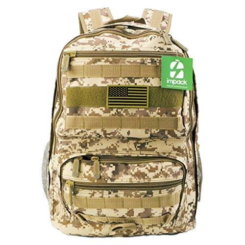 Impack rt1509スポーツアウトドアミリタリータクティカルMOLLEバックパックキャンプハイキングトレッキングバックパックスクールバックパック B01ISCJHZA TAC 1 PATCH