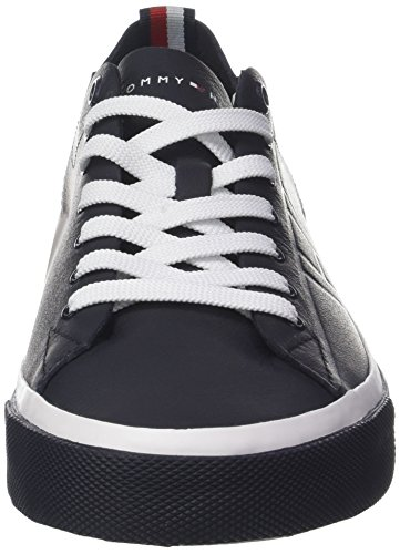 Cut Blue Unlined Leather Sneaker Hilfiger Men Midnight Low Tommy 0fUxw
