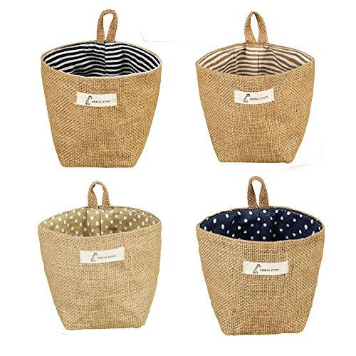 Sansheng 4PCS Wall-Hanging Storage Bags Hanging Storage Bags Cotton Linen Storage Basket Foldable Wall-Hanging Basket Family Organizer Box Decorative Bag (Color as Shown) (Hanging Baskets Wall Bathroom For)