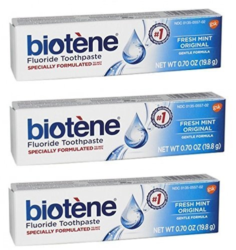 Biotene Dry Mouth fresh Mint Toothpaste 0.70 Oz Travel Size (Pack of 3)