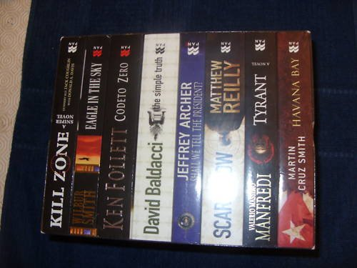 Ultimate Thrillers box set 8 vols: Havana Bay (Cruz Smith), The Simple Truth (Baldacci), Shall We Tell the President (Archer), Code to Zero (Follett), Eagle in the Sky (Smith), Tyrant (Manfredi), Scarecrow (Reilly), A Sniper Novel (Coughlin)