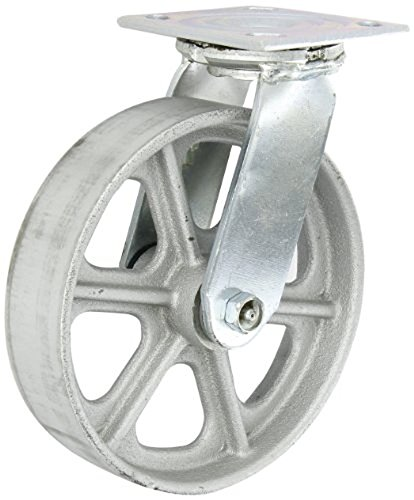 Albion-16-Series-8-Diameter-Cast-Iron-Wheel-Medium-Heavy-Duty-Zinc-Plate-Swivel-Caster-Roller-Bearing-4-12-Length-X-4-Width-Plate-1250-lbs-Capacity-Pack-of-2