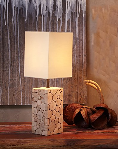 NPD O'THENTIQUE Driftwood Mosaic Table Lamp 17 Inches | Natural Solid Rustic Reclaimed Wood | Off White Shade Perfect Mini Bedside Desk Lamp For Bedroom Living Room Beach House Cabin Cottage by O'THENTIQUE