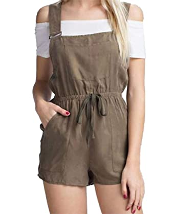 4543812d890 Honey Punch Honey Belle Short Overall Utility Romper with Waist Tie-Small  Olive