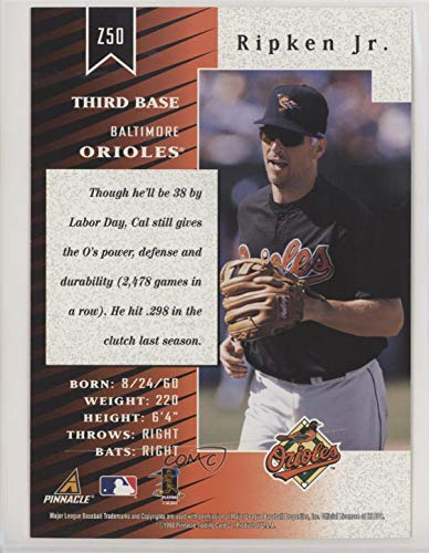 Amazon.com: Cal Ripken Jr. (Baseball Card) 1998 Pinnacle Zenith - 5x7 - Ripped #Z50: Collectibles & Fine Art