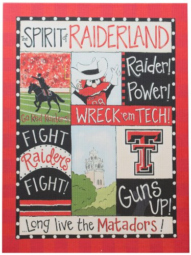 Glory Haus Texas Tech Spirit Canvas Wall Art, 12 by 16-Inch