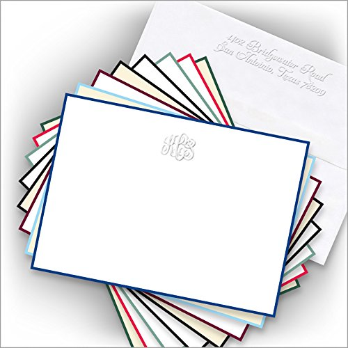 Hand Bordered Embossed Correspondence Cards -with Monogram - 3396 ()