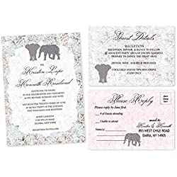 Elephant wedding invitations set of 67 safari invitation
