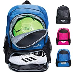 Designed to accommodate teen and youth athletes, this soccer equipment backpack lets soccer players easily carry all of their gear in one bag. Carry a SOCCER BALL, with a separate compartment to contain dirty cleats, double water bottle holde...