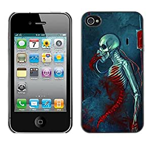 Be Good Phone Accessory // Dura Cáscara cubierta Protectora Caso Carcasa Funda de Protección para Apple Iphone 4 / 4S // Blood Death Grim Blue Skull Skeleton